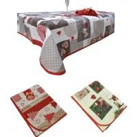Tovaglia con tovaglioli natale 6 posti rosso shabby albero preziosa feste nataliza