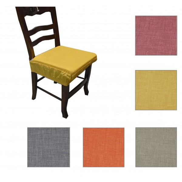Coppia cuscini coprisedia con elastico sedia tinta unita
