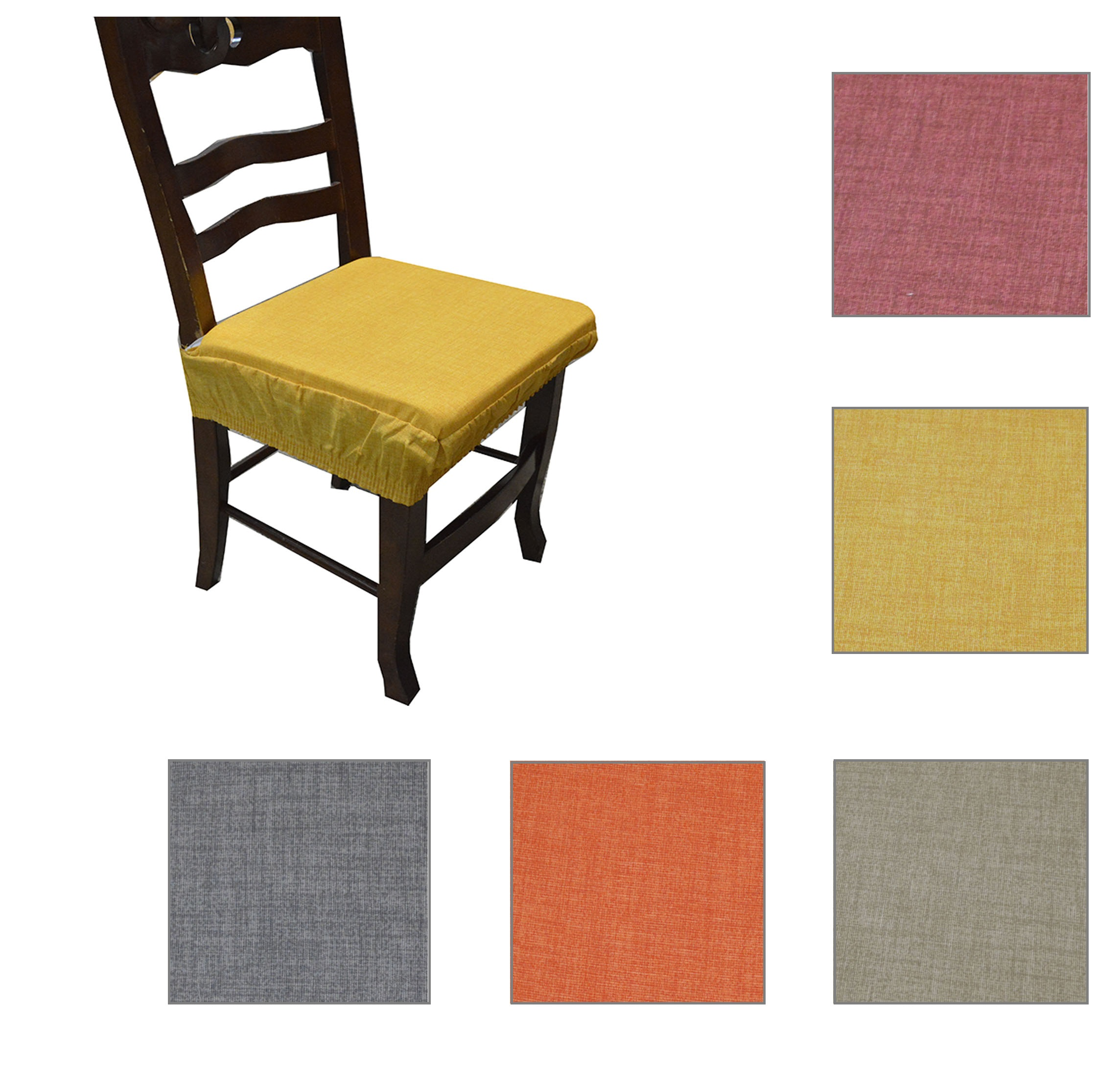 Dettagli su Coppia cuscini coprisedia con elastico sedia tinta unita