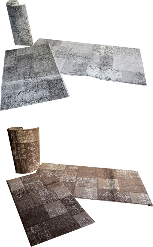 Parure tris camera da letto scendi letto patchwork marrone grigio ebay - Tris tappeti camera da letto ...